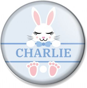 "Personalised Easter Bunny Rabbit - Blue 58mm (2.28"") Pin Button Badge  - Customise with any name"